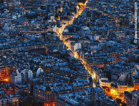 Aerial Night View of Paris