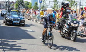 Utrecht,Netherlands - 04 July 2015: The Irish cyclist Nicolas Roche of Team Sky riding during the first stage (individual time trial ) of Le Tour de France.