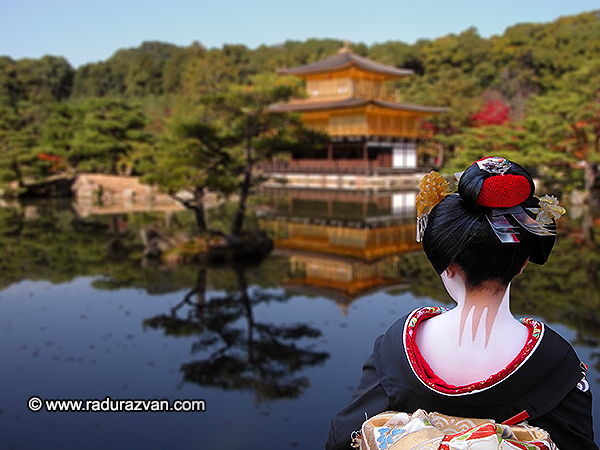 Geisha looking to the Golden Pavilion in Kyoto,Japan.