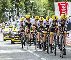 Plumelec, France - 13 July, 2015: Team LottoNL Jumbo riding the Team Time Trial stage between Plumelec and Vannes, during Tour de France .